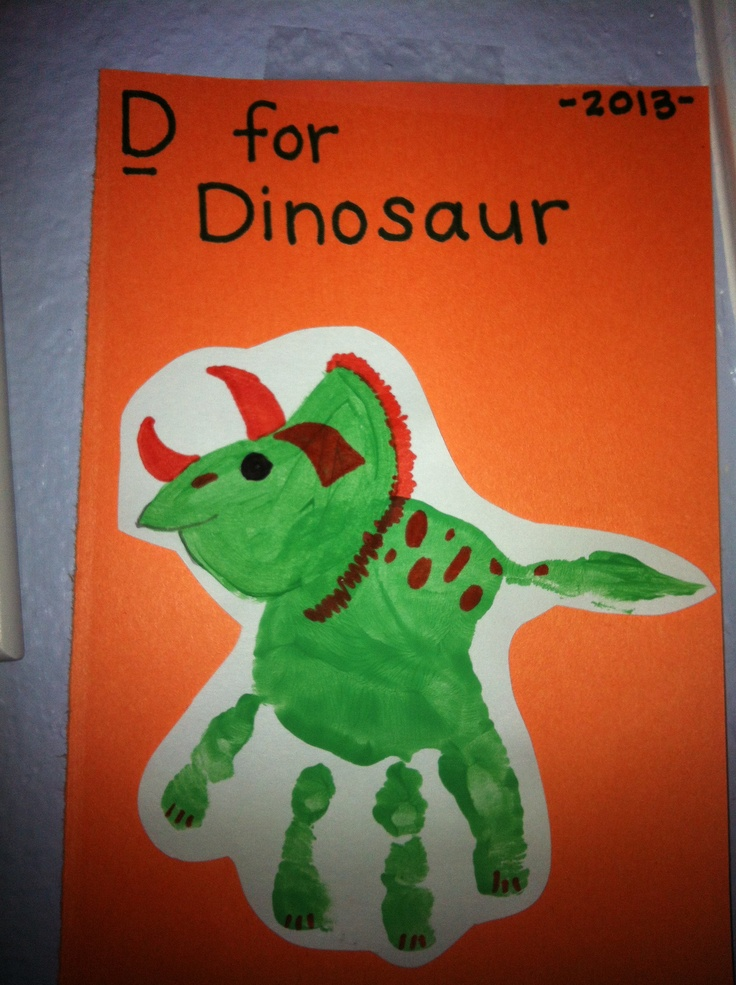 D Is For Dinosaur Handprint Infant ActivitiesArt ActivitiesDino Craft Preschool