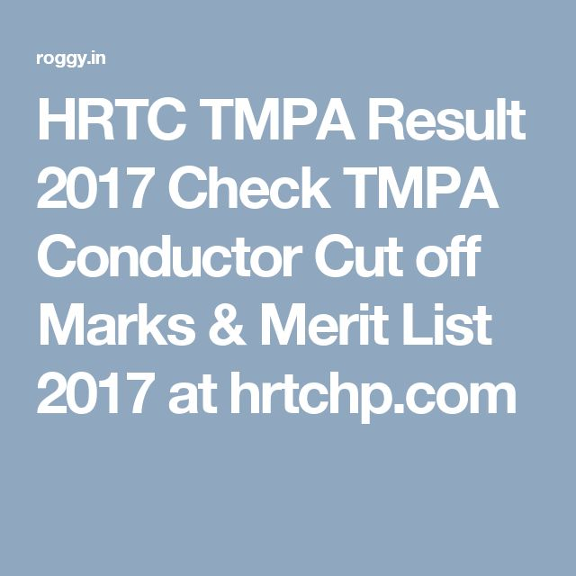 HRTC TMPA Result 2017 Check TMPA Conductor Cut off Marks & Merit List 2017 at hrtchp.com