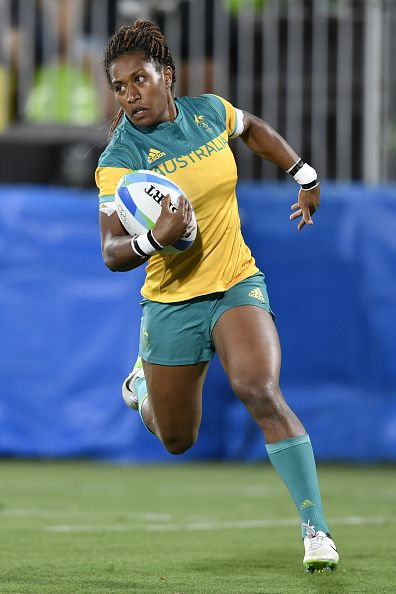 Australia's Ellia Green scores a try in the womens rugby sevens gold medal match between New Zealand and Australia during the Rio…