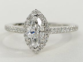 Engagement ring showcases micropavé-set diamonds to frame the Marquise Cut diamond