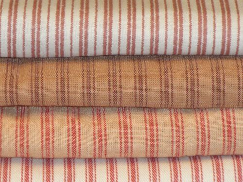Vintage red ticking fabric for crib bedding i 39 m thinking for Ticking fabric