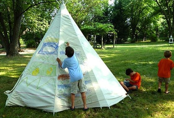 how to make a kid 39 s teepee outdoor drop cloths and summer
