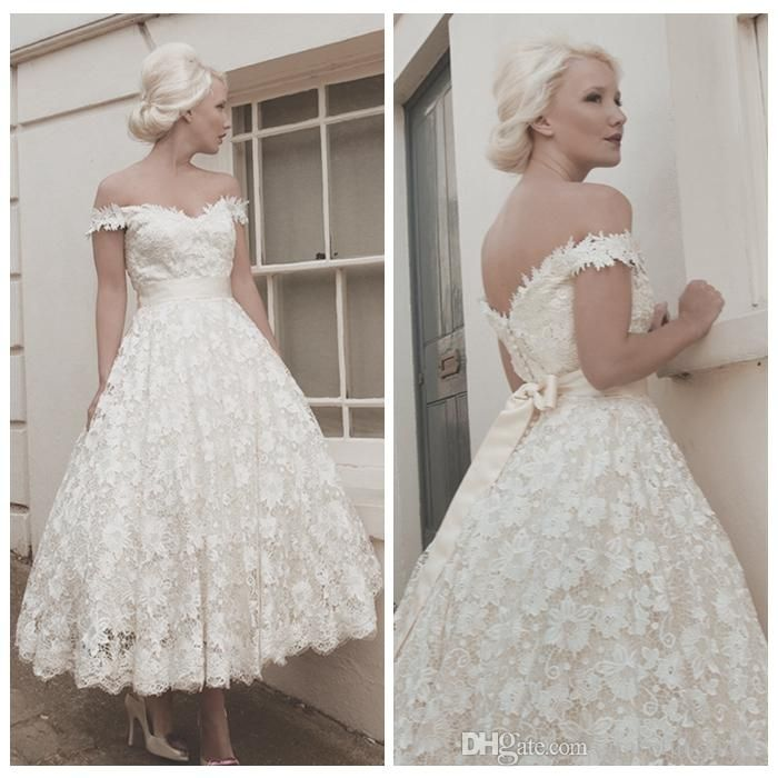 Wholesale wedding dress shops, line wedding dresses and designer wedding dresses on DHgate.com are fashion and cheap. The well-made  Vintage 1950s Style Wedding Dress Off the Shoulder Short Lace Bridal Gowns 2015 Spring V Back 2015 Wedding Gown Modest Custom sold by graceful_ladies is waiting for your attention.