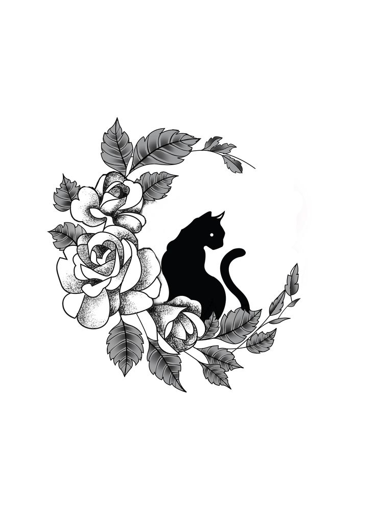 Tattoo Stencils Printable Moon: Flower Cat Moon Tattoo Design. Designer: Andrija Protic