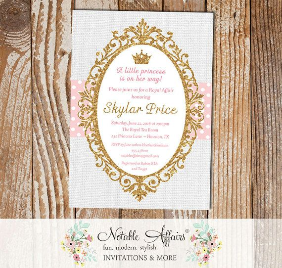 Princess Light Pink Gold Glitter On Gray Burlap Background   Princess Cinderella  Baby Shower Invitation   Light Pink Can Be Changed Only