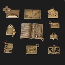 Nuevo Diseño de Aleación de Zinc Plateado Bronce Sobre Libro Diario Biblia Encantos Collar Colgante DIY Accesorios de La Joyería 10 Estilo de la Selección(China (Mainland))