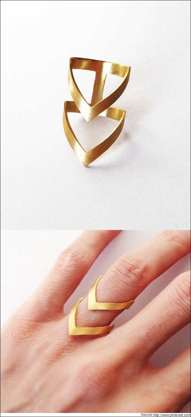 Double Chevron gold ring  #Goldring #Chevron
