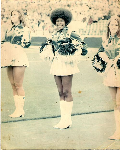 Mary Smith, one of the first African American Dallas Cowboy cheerleaders, 1970. (get it, girl!)