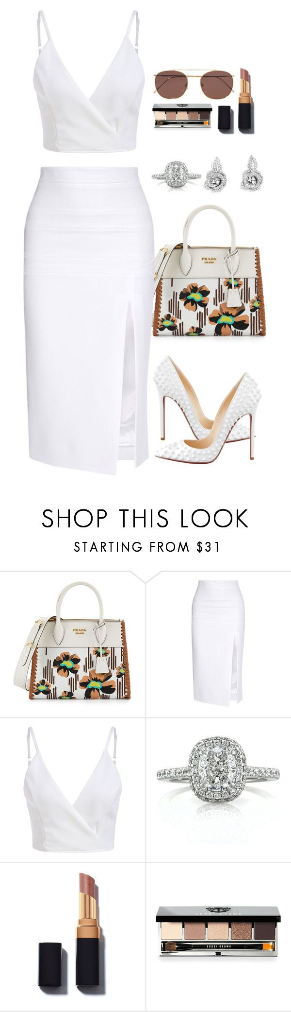 """""""Untitled #1255"""" by fashionmodelstyle ❤ liked on Polyvore featuring Prada, Cushnie Et Ochs, Christian Louboutin, Mark Broumand, Bobbi Brown Cosmetics and Illesteva"""