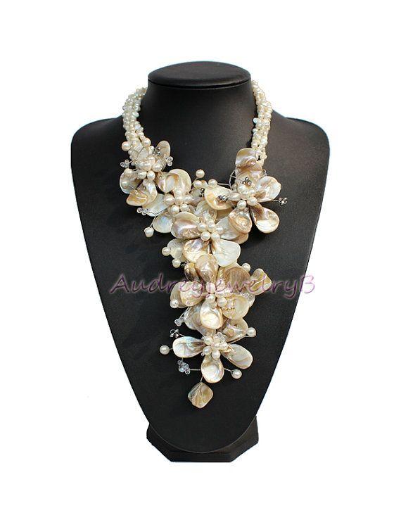 Naturale sorella FW Pearl shell collana di fiori di AudreyjewelryB