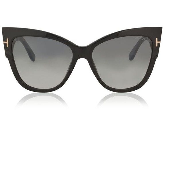 Tom Ford Anoushka Sunglasses (€285) ❤ liked on Polyvore featuring accessories, eyewear, sunglasses, black, cat-eye glasses, metal sunglasses, cat eye sunglasses, thick glasses and logo lens sunglasses