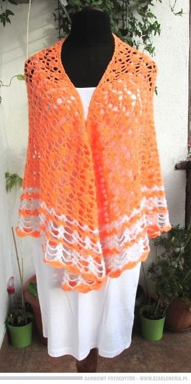 Hand Crochet Shawl  Handmade Shawl, Neon Orange Shawl,   Crochet Wrap, Boho Chic - pinned by pin4etsy.com