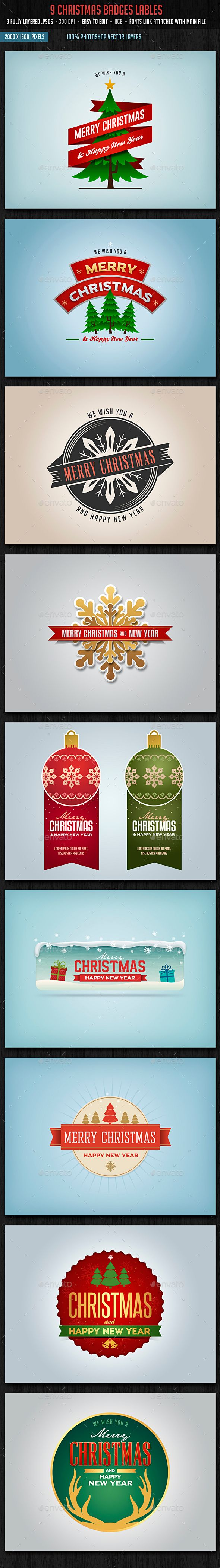 Christmas Badges Lables