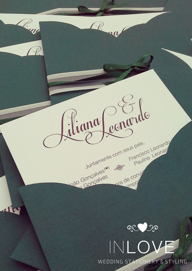 { L & L } Champagne & Dark green inviations