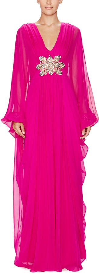 Silk Embellished Kaftan Dress by Marchesa. Love Love Love