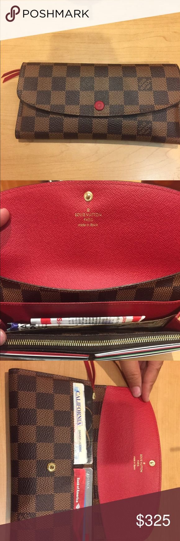 Louis Vuitton Emilie Wallet Damier Ebene Canvas. In great condition. Has 4 card/ID slots. 3 compartments for receipts, cash, etc. has a zip pouch for change and coins. No damage or stains. Comes with dust bag and original box and reciept. Louis Vuitton Bags Wallets