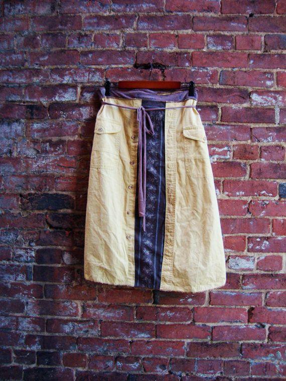 Harvest Gold Wrap Skirt/ Autumn Wrap Skirt/ by RebirthRecycling, $65.00: 6500