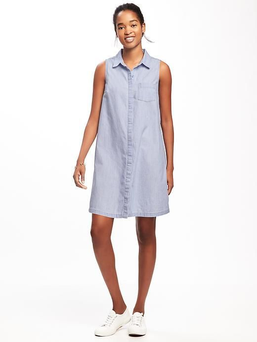 Old Navy Sleeveless Chambray Shirt Dress for Women