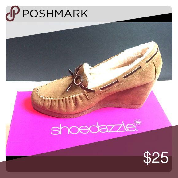 Adorable Shoedazzle Wedge Moccasins Super adorable Shoedazzle moccasin wedges. New never worn with box. Shoe Dazzle Shoes Wedges