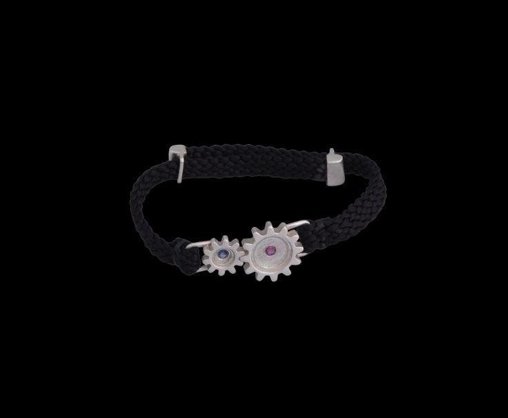 #silver #cogs #gears #ruby #sapphire #bracelet #finejewellery #jewellery