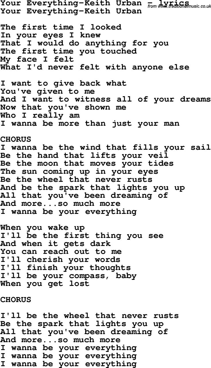 Love Song Your Everything Keith Urban Lyrics With Pfd
