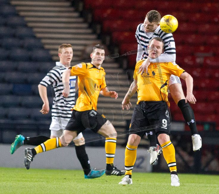Queen's Park's Ryan McGeever heads the ball during the SPFL League Two game between Queen's Park and Annan Athletic.