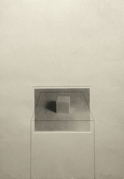 Liliana Porter Untitled with Cube (1974) Photo etching and pencil Plate size: 31 ½ x 24
