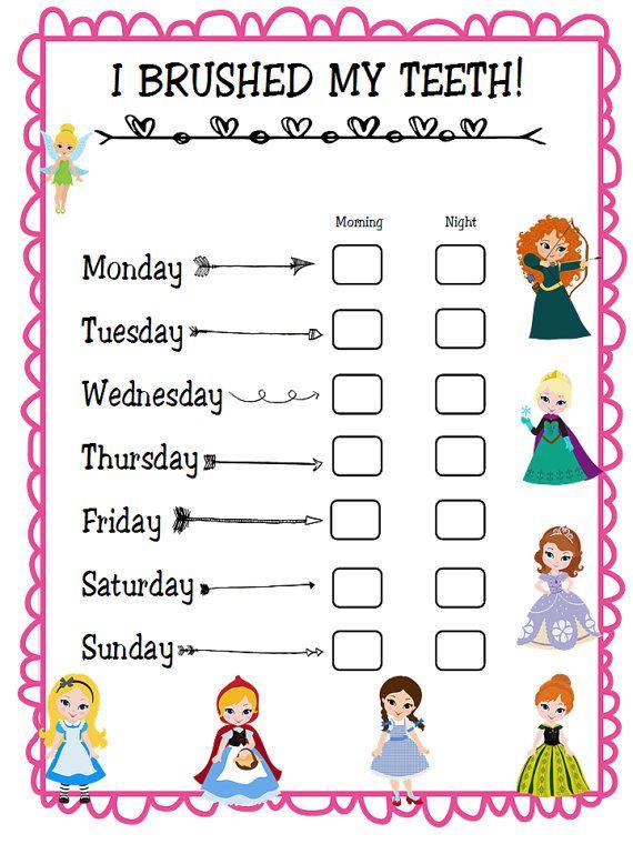 i brushed my teeth chore chart princess theme by