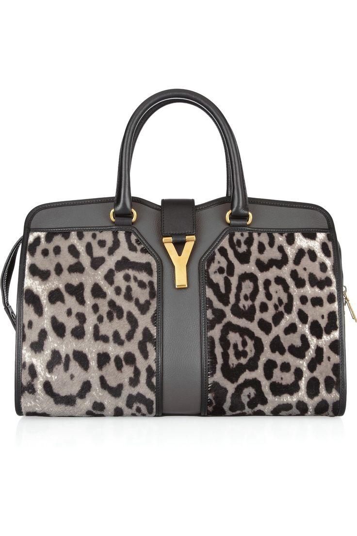 Yves Saint Laurent Cabas Chyc Medium leopard-print calf hair and ...