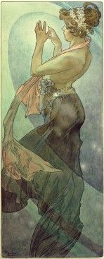 Alfons Mucha (1902) The Moon and the Stars:The Pole Star. A female figure holds her hands up to her face as she turns to the left where light floods into the picture