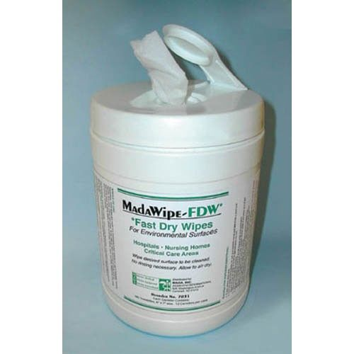 MadaCide FDW Plus / Wipes Tub/160 -   160 Towelettes 6 x 7. Safe easy to use economically priced.  Biodegradable and non-toxic. Greater stability with longer shelf life. No rinsing necessary. Allow to air dry. For environmental surfaces.  Contains: Isopropyl Alcohol 2-Butoxyethanol cationic surfactant and water. In hospitals nursing homes and critical care areas.