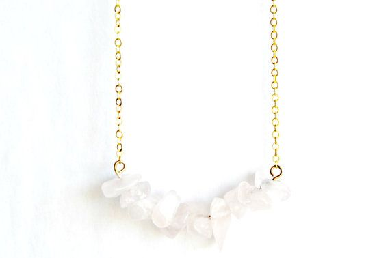 Rose Quartz Necklace Cluster Crystal Pendant Gold by IndigoLizard