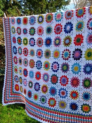 Circle blanket......... This site  has a great tutorial for learning how to make a granny `square`.... great for beginners...Kerry