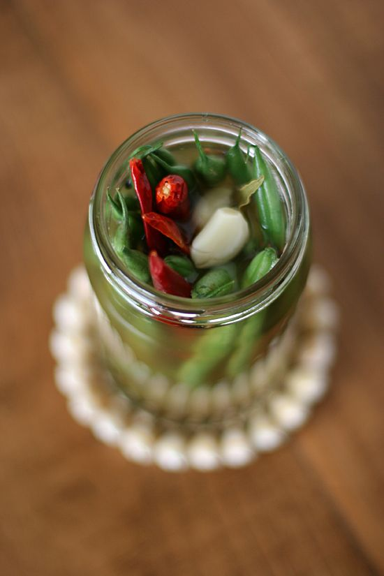 Spicy pickled green beans. A delicious way to preserve all that abundant produce!
