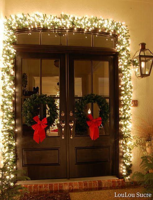 #Christmas lit #garland around the dooryway