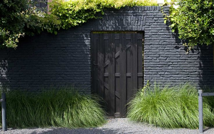 Oude bakstenen muur is geschilderd met een matte zwarte muurverf. Daarvoor de losse Pennisetum grassen die zowel in zomer als herfst voor erg fraaie aanzichten zorgen tegen de rustige zwarte achtergrond.