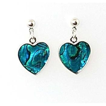 TOC Genuine Shell Set Heart Post and Butterfly Drop Earrings