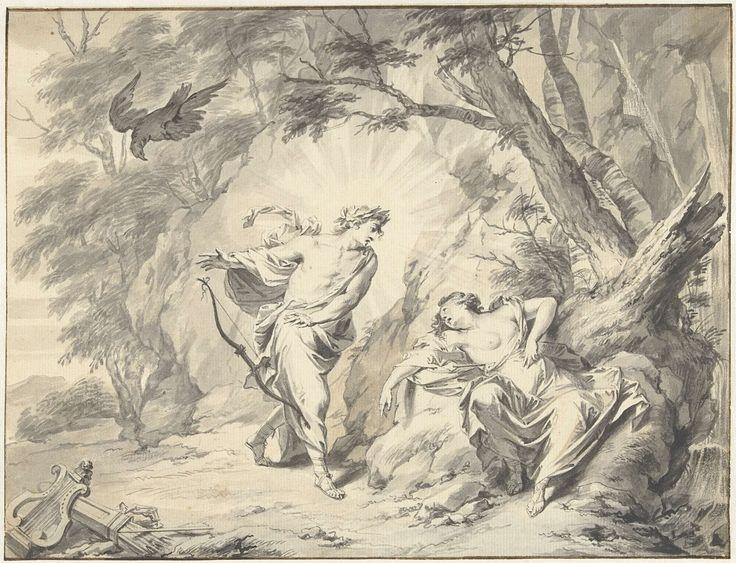 Jacob de Wit | Apollo doorschiet Coronis met een pijl, Jacob de Wit, 1706 - 1754 | Ontwerp voor een prent.