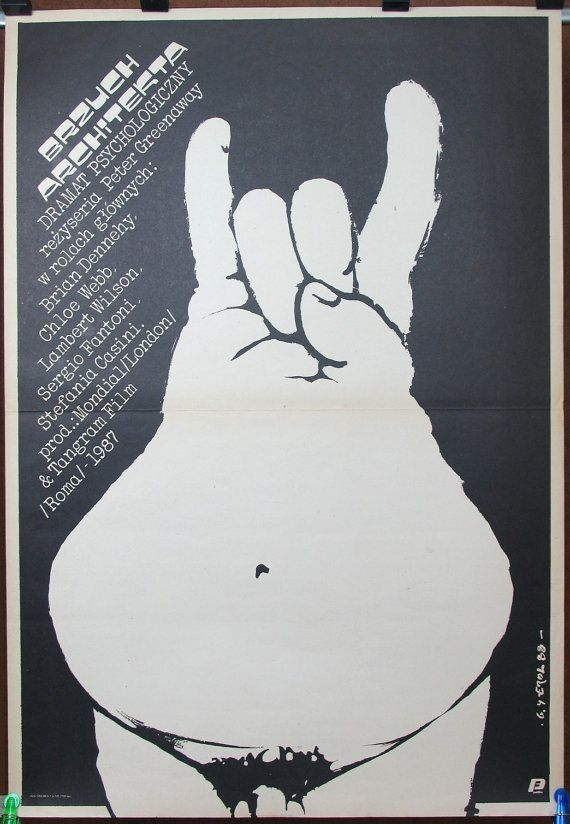 The Belly of an Architect. UK & Italy 1987 by Peter Greenaway film. Drama. Polish poster by Jakub Erol 1988. Black - white poster. Architect