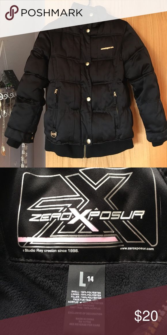 Kids winter jacket Super nice kids winter jacket. Black and puffy with gold hardware. Lightly worn great condition. Zero Posur Jackets & Coats