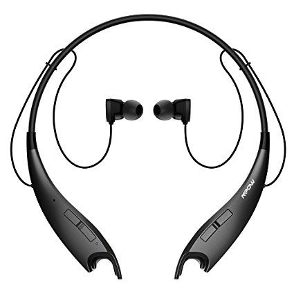 #2: Mpow Jaws V4.1 Bluetooth Headphones Wireless Neckband Headset Stereo Noise Cancelling Earbuds w/ Mic