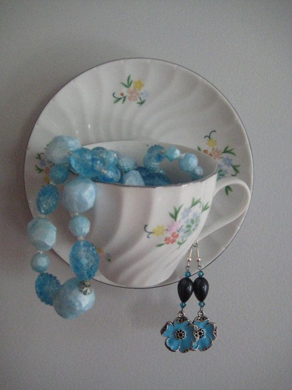 Upcycled Teacup Jewelry Holder Cottage Chic by OrnamentalElegance, $15.00