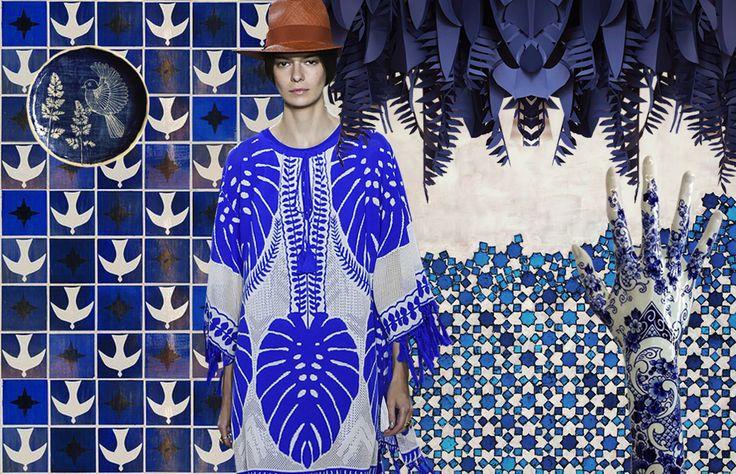 Exotica: wilde prints voor de lente van 2016 #trends #botanical #leaves #prints #patterns #SS16 #spring #blue