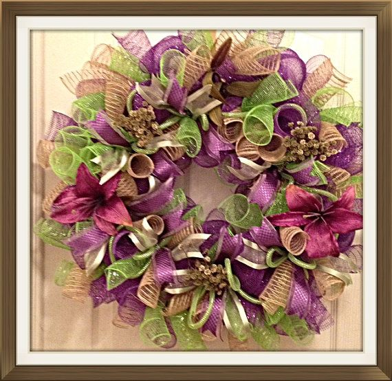 Hey, I found this really awesome Etsy listing at https://www.etsy.com/listing/185160851/everyday-purple-and-lime-lily-deco-mesh