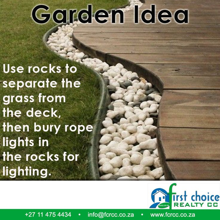 Always struggling with grass overgrowing? Use rocks to separate the grass from the deck, then bury rope lights in the rocks for lighting. Click here for more: http://besociable.link/4c Visit our website: besociable.link/4g #ideas #garden #property