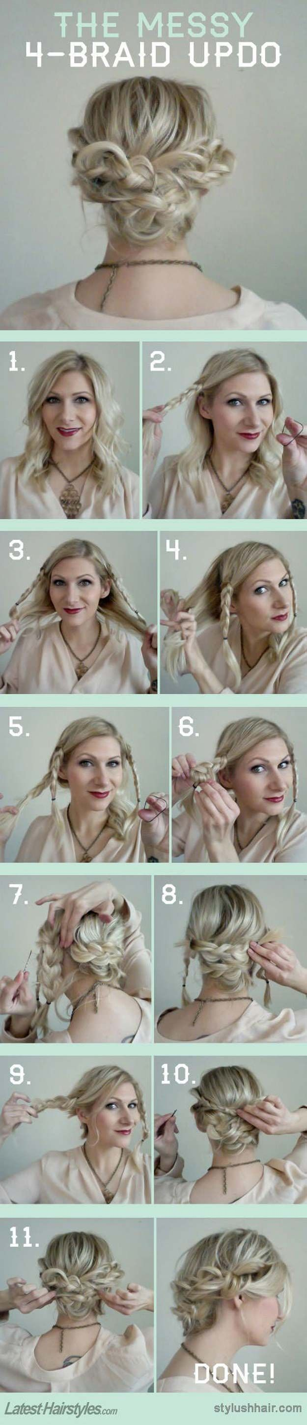 The 48 Best Medium-Length Hairstyles to Steal For Yourself - The Messy 4 Braid Updo - The Best Medium-Length Hairstyles and Haircuts For Thick Hair. These Tutorials Are For Women Looking For An Easy Undo or A Hair Style With Bangs Or With Layers. Check Out The Tutorials On Long Bobs Or For Curly and Fine Hair. These Medium-Length Hairstyles and Haircuts Will Work For Round Faces As Well. Try These If You Have Blonde Hair, Brunette Hair, Just Got Highlights Or A Balayage…