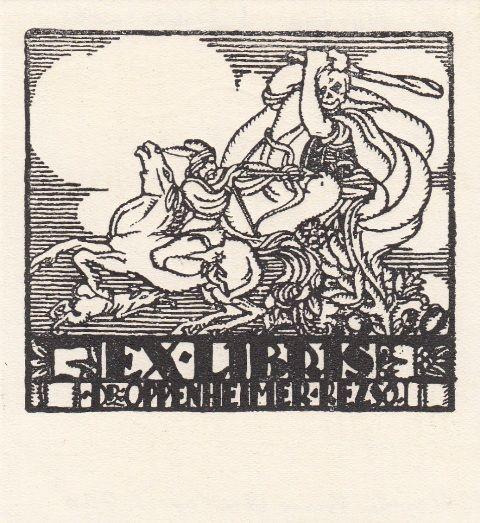 Marton, Imre: Ex Libris Dr. Oppenheimer Rezsö. Tod, mit Keule reitenden Bogenschützen bekämpfend. [1920]. 82 x 87 mm, Rasterdruck.
