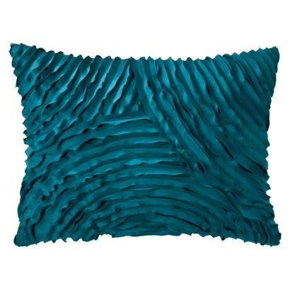 Decorative throw pillow for living room    Xhilaration® Silk Allure Pleated Decorative Pillow - Teal.Opens in a new window