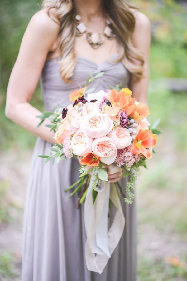 Bridal Bouquet With Color : Best images about lavendar peach wedding on