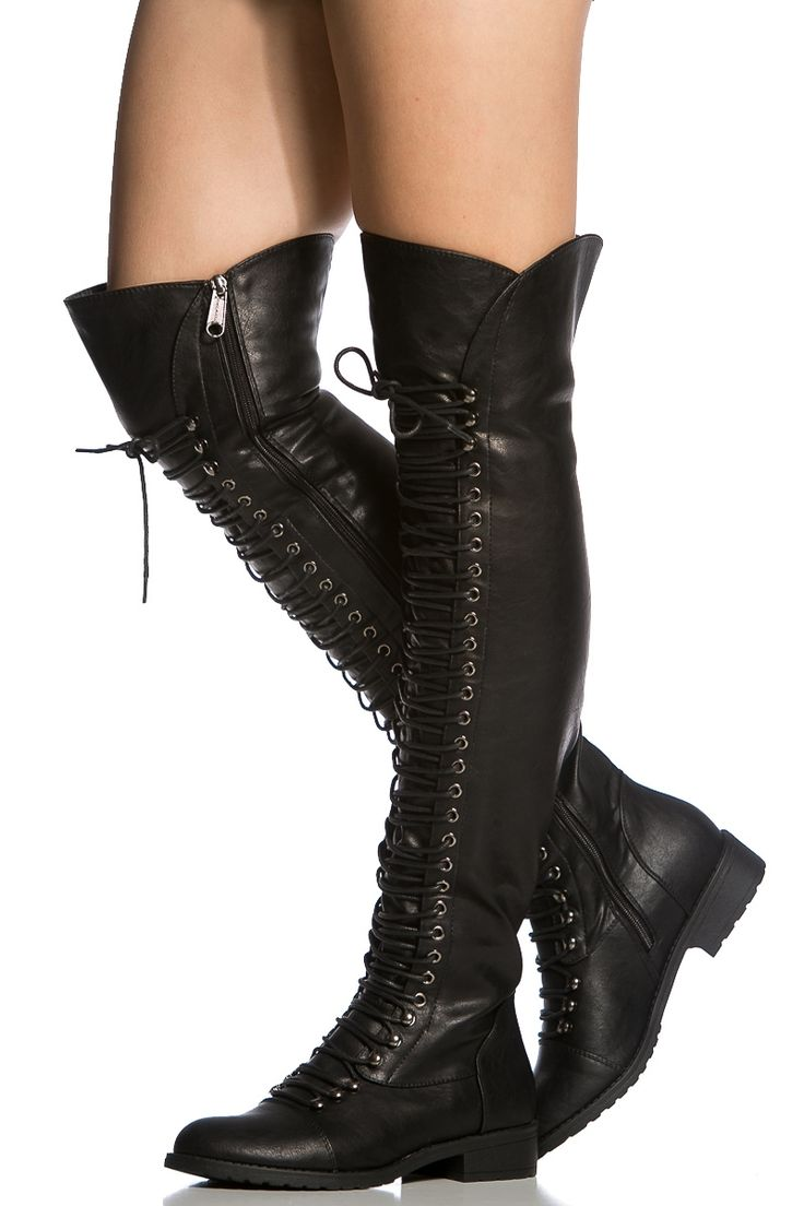 Black Faux Leather Thigh High Combat Boots @ Cicihot Boots Catalog:women's winter boots,leather thigh high boots,black platform knee high boots,over the knee boots,Go Go boots,cowgirl boots,gladiator boots,womens dress boots,skirt boots.